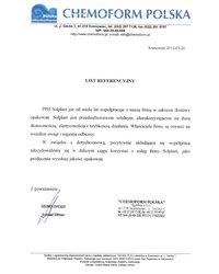 List referencyjny - CHEMOFORM POLSKA - zdjęcie