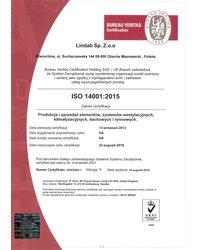 Certyfikat ISO 14001:2015 - zdjęcie