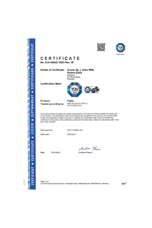 Certyfikat TÜV 2018 - zdjęcie