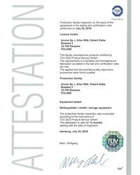 Certyfikat TÜV SÜD - zdjęcie