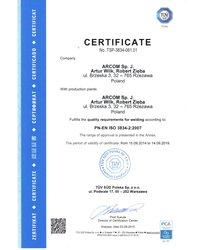 Certyfikat TÜV 2015 - zdjęcie