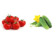 Pomidory i ogórki - warzywo sezonowe - zdjęcie