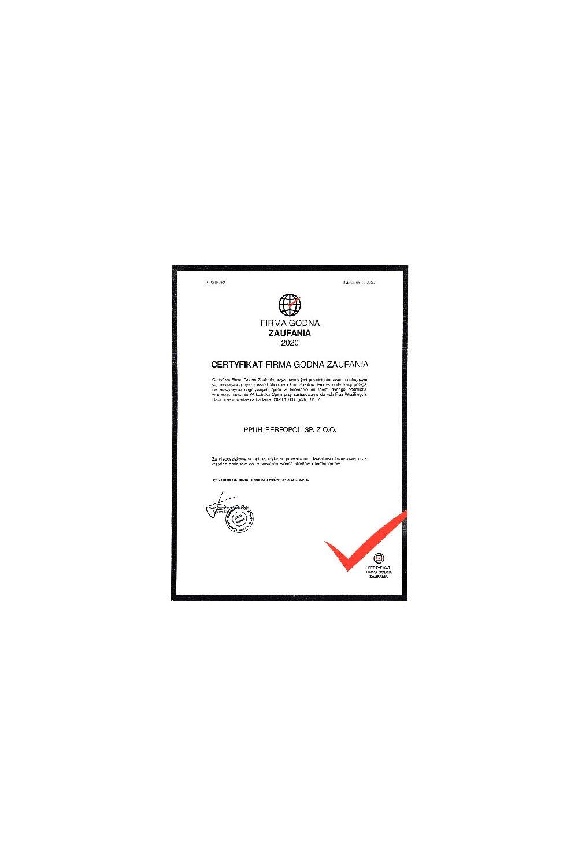 Certyfikat Firma Godna Zaufania 2020 - zdjęcie