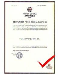 Certyfikat Firma Godna Zaufania - zdjęcie