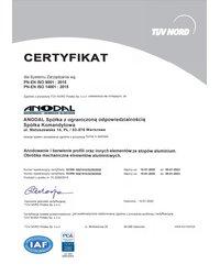 Certyfikat PN-EN ISO 9001:2015, PN-EN ISO 14001:2015 - zdjęcie