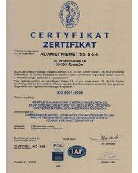 Certyfikat ISO 9001:2008 (ważny do 2012-12-21) - zdjęcie