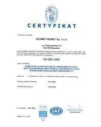 Certyfikat ISO 9001:2008 (ważny do 2018-09-14) - zdjęcie