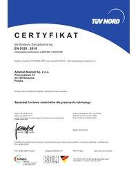 Certyfikat EN 9120:2010 (ważny do 2019-10-17) - zdjęcie