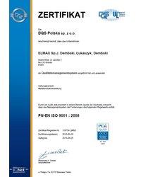 Certyfikat PN-EN ISO 9001:2008 - zdjęcie