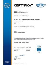 Certyfikat PN-EN ISO 9001:2009 - zdjęcie