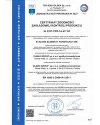 Certyfikat PN-EN ISO 1090-1:2009 - zdjęcie