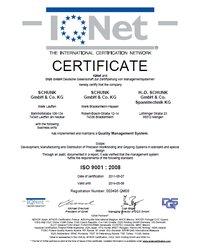Certyfikat DIN EN ISO 9001:2008, SCHUNK Intec Inc. - zdjęcie