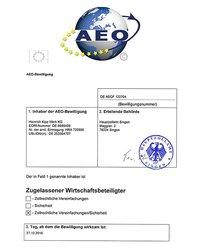 Certyfikat AEO - zdjęcie