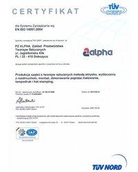 Certyfikat dla systemu zarządzania wg EN ISO 14001:2004 - zdjęcie