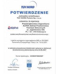 Potwierdzenie Zgodności z Rozporządzeniem EMAS przez jednostkę certyfikującą TÜV NORD Sp. z. o.o. - zdjęcie