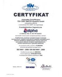 Certyfikat dla systemu zarządzania wg ISO 9001:2000 - zdjęcie