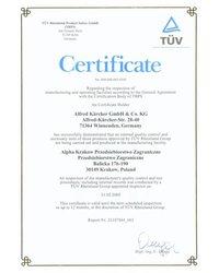 Certyfikat TÜV Rheinland Product Safety GmbH - zdjęcie