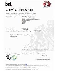 Certyfikat dla systemu zarządzania wg ISO/TS 16949:2002 - zdjęcie