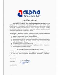 Polityka Jakości ALPHA TECHNOLOGY - zdjęcie