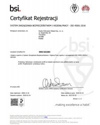 Certyfikat ISO 45001:2018 - zdjęcie