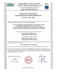 Certyfikat Zakładowej Kontroli Produkcji Trzcianka EN 15088 - zdjęcie