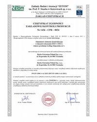 Certyfikat Zakładowej Kontroli Produkcji EN 1090-1 - zdjęcie