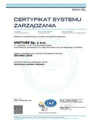 Certyfikat PN-EN ISO 9001:2015 - zdjęcie