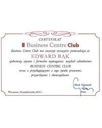 Certyfikat Business Centre Club - Edward Bąk - zdjęcie