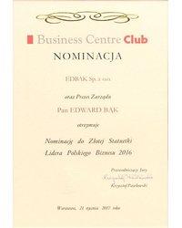Nominacja do Złotej Statuetki Lidera Polskiego Biznesu 2016 - zdjęcie