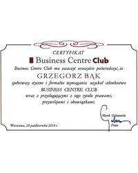 Certyfikat Business Centre Club - Grzegorz Bąk - zdjęcie