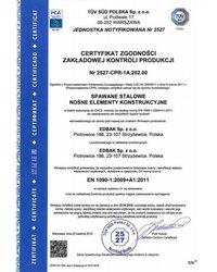 Certyfikat Zgodności EN 1090-1:2009+A1:2011 - zdjęcie