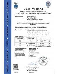 Certyfikat EN 15085-2:2007 - zdjęcie