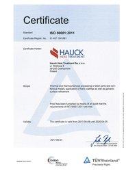 Certyfikat ISO 50001:2011 - zdjęcie