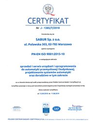 Certyfikat PN-EN ISO 9001:2015-10 - zdjęcie