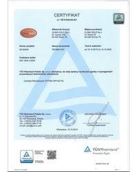 Certyfikat TÜV Rheinland DIN 1946-4:2008 - zdjęcie