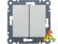 Wyłącznik podwójny (świecznikowy), biały LUMINA2 WL0040 HAGER - zdjęcie