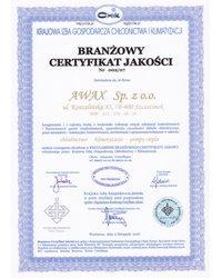 Branżowy Certyfikat Jakości Nr 002/07 - zdjęcie