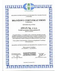 Branżowy Certyfikat Firmy Nr 001/2011r. - zdjęcie