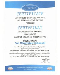 Certyfikat Autoryzowanego Partnera Serwisowego Fabryki Urządzeń Chłodniczych - zdjęcie