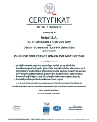 Certyfikat Zarządzania JAKOŚĆ & ŚRODOWISKO - zdjęcie