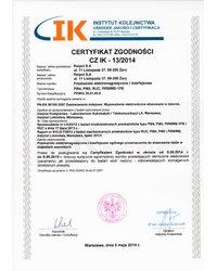 Instytut kolejnictwa - Certyfikat zgodności - zdjęcie