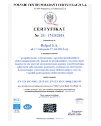 Certyfikat Zintegrowanego Systemu Zarządzania JAKOŚĆ I ŚRODOWISKO - zdjęcie