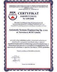 Certyfikat Jakości Usług Nr 1/09/2008 - zdjęcie
