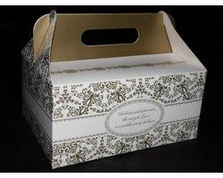 Pudełko na ciasto weselne 'Złote' - zdjęcie