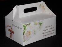 Pudełko na ciasto komunijne 'Róże' - zdjęcie