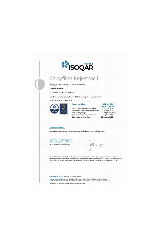 Certyfikat ISO 9001:2015, ISO 14001:2015 - zdjęcie