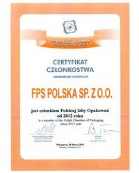 Certyfikat członkowstwa - Polska Izba Opakowań - zdjęcie