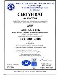 Certyfikat Jakości ISO 9001:2008 - zdjęcie