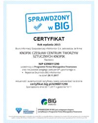 Certyfikat SPRAWDZONY w BIG - zdjęcie