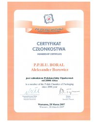 Certyfikat Członkostwa Polskiej Izby Opakowań - zdjęcie